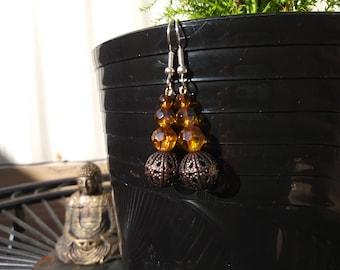 Bronze bead dangle earrings