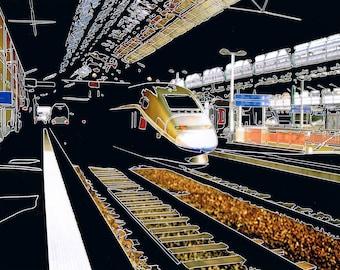 Photograph engraved Perrache, Lyon, train station