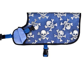 Dog Cooling Coat, cooling vest for dogs, cooler jacket, cool coat, XX-SMALL skulls, synthetic chamois, free embroidery, conformation agility
