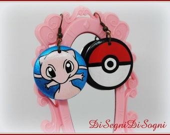 Pokemon MEW Earrings-hand Painted