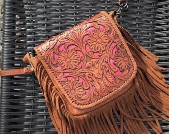 Boho Leather Fringe Crossbody Bag / Montana West Leather Satchel / Rustic Leather Embossed Purse / Shabby Chic Fringe Genuine Leather Bag