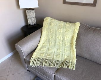 Pale Yellow Popcorn Triangles Afghan w/ Tassels