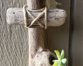 Driftwood cross with succulent