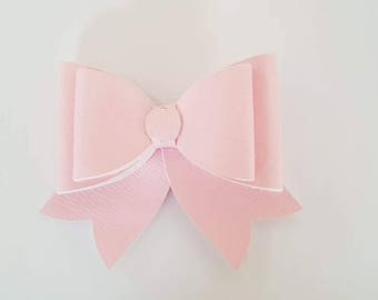 Pink leatherette French bow
