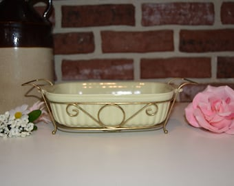 Vintage 1983 Pfaltzgraff Cassorole Dish and Metal Carrier Server Stand