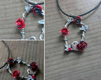 Bird on swing necklace