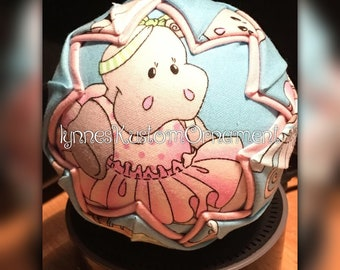 Baby Hippopotamus CUSTOM quilted ornament