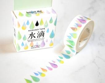 Colourful Water Drop Masking Tape , Washi Tape Sticker,  Scrapbook Supplies