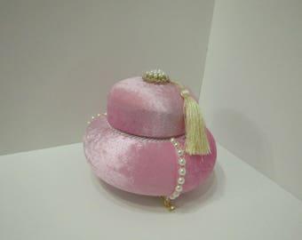 Pink Jewelry Box,Pink Velvet Box, Velvet Gift Box, Velvet Jewelry Box, Necklace Storage,VelvetTasbih Box,Necklace Gift Box,Tasbih Storage