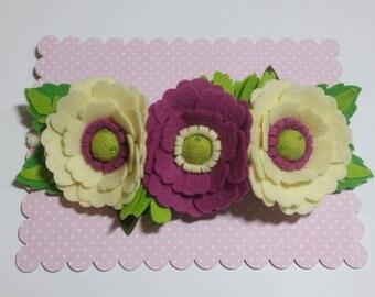Felt Flower Headband, Felt Flower Crown Headband, Baby Headband, Girls Headband, New born Baby Headband, Christening, Wedding, Flower Girl