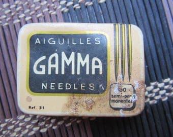 old Gramaphone needles GAMMA Aiguilles metal Box