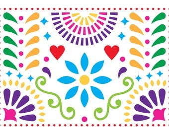 Colorful Mexican Folk Art Wrapping Paper Sheets, Mexican Art gift wrap, Flower gift wrap, Birthday