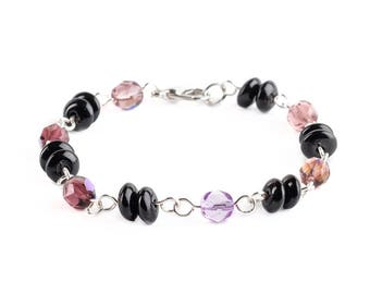 Purple and Black Colored Glass Beaded Bracelets Jewelry Wire Wrapped With Silver Wire Handmade