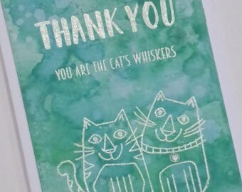 Thank You, You Are The Cats Whiskers - Watercolour Cats Handmade Blank Greeting Card - A6