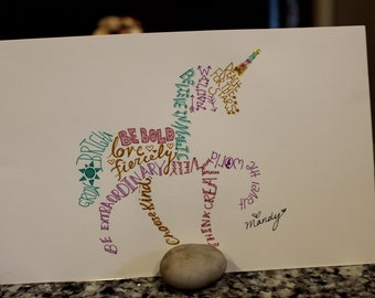 unique hand drawn word art unicorn, can be customized on chest
