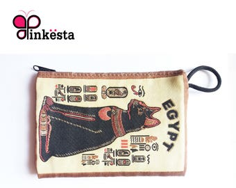 Vintage Egyptian Pharaoh Cat pouch wallet, Ancient Egyptian