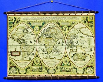 Ancient Antique Old Rare World Wall Map, 1618, Print on 100% Cotton Canvas And swen to a Round Wooden Hanger Frame with Vintage Rope