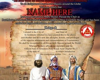 Custom Masonic/OES Certificates