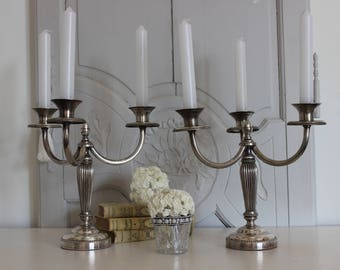 Pair of candlesticks.Candelabra.Silver plated.