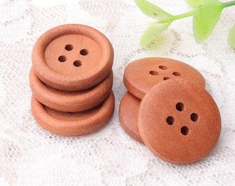 brown wood buttons 20mm 10pcs 4 hole wooden buttons round buttons shirt coat buttons