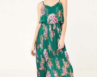 Floral Pleated Dress - Green