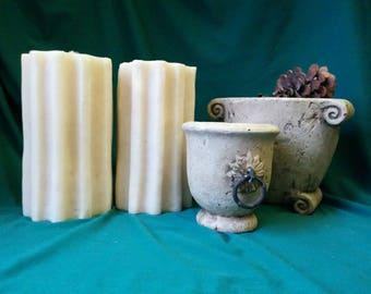 Pair (2) Vintage Roman Column Candles