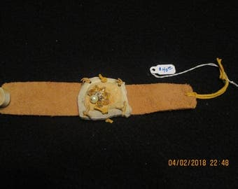 Leather Braclet With Deer Antler Charm
