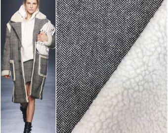 Two side wool tweed with fake fur