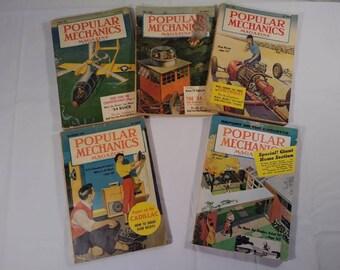 Vintage 1950s Popular Mechanics Advertising Magazine Lot