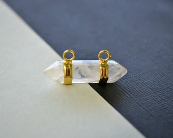 Quartz Crystal Double Terminated Horizontal Point Charms - Clear Natural Stone with Gold Plating - Jewellery Making Supplies