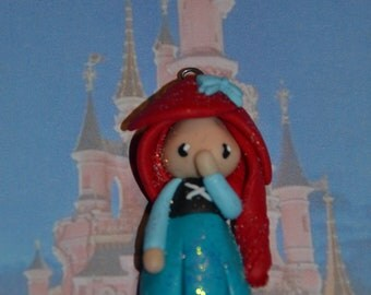 Born in polymer clay depicting Ariel version dress - Disney Princess Collection - handmade jewelry