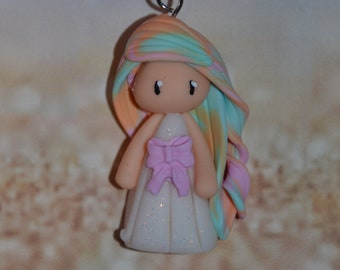 Born in polymer clay white dress, pink, hair bow Rainbow orange, pink, Green - Collection Rainbow - handmade