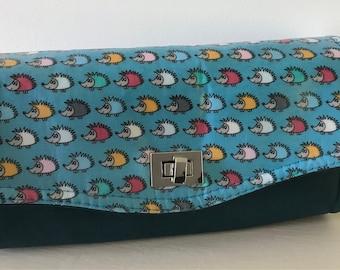Hedgehog NCW Clutch wallet, leather purse ,laminated cotton , clutch ,blue purse ,wallet