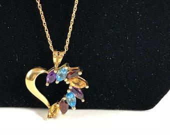 10K Gold Heart Pendant Multi-Color Stones