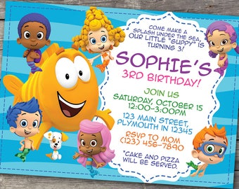 Bubble Guppies Invitation, Guppy Birthday, Bubbles Party, Colorful Invitations, Personalized Invite Card, Printable Digital Invites