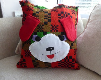 Cute Puppy Cushion, Handcrafted from Up-cycled Materials