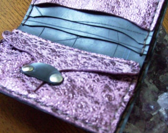 Men's wallet-handmade woman/hand Made in PURPLE leather and rubber. One Piece!
