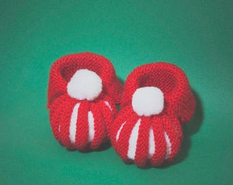 In the Dordogne Pumpkins by hand knitted baby booties - red and white with tassel