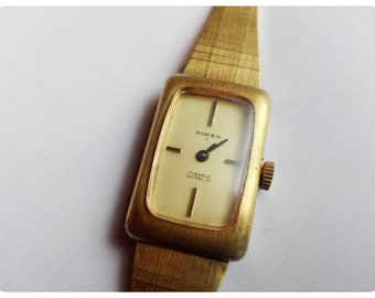 Anker S 17 Jewels Incabloc mechanical German Women's Vintage Gold plated Watch