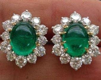 Replica Diamond & Emerald stud earrings