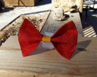 Small Dog Cat Bow Tie Accessory - Red and Yellow Plaid Pattern