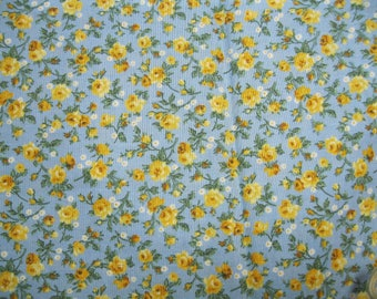 Calico Print Cotton Fabric - Gold Roses on Blue
