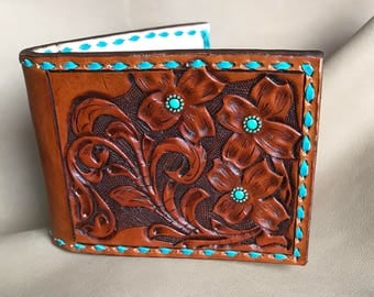 Hand Tooled Bifold Money Clip Leather Wallet with Turquoise Accents