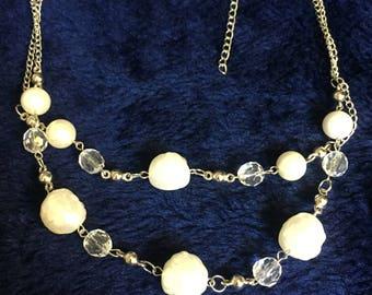 Unique White and silver necklace