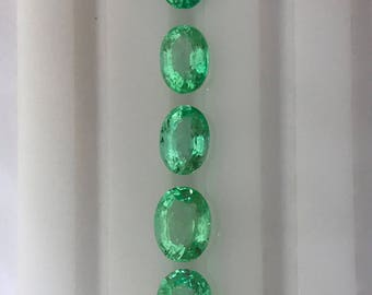 4.02Cts. AAA Natural Colombian Emerald Mix Lot 6X5MM - 7X5MM Oval Cut Faceted Gemstone