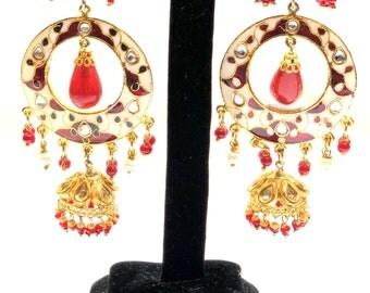 Kundan Enameled with red onex stone chandelier with jumkha dangling