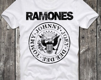 T-Shirt Ramones Dee DEE Joey Johnny Logo Punk Roock Cult White Distressed Retro Vintage 80s cult