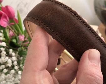Horween derby nut brown lined leather belt 34inch waist