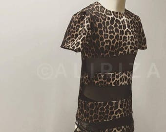 Leopard Print & Mesh T-Shirt