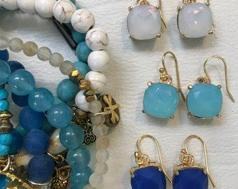 Glass and Gold Drop Earrings / Blue Earrings / White Earrings / Topaz Earrings